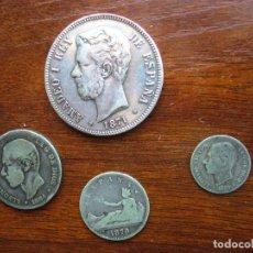 Monedas de España: MONEDAS PLATA DE AMADEO I REY 1871- 5 PESETAS PLATA Y ALFONSO XII - 3 MONEDAS. Lote 199755295