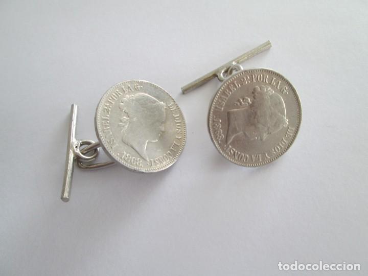 ISABEL II * 1868 * 50 CENTAVOS DE PESO * MONTADO EN PASADOR (Numismática - España Modernas y Contemporáneas - De Isabel II (1.834) a Alfonso XIII (1.931))