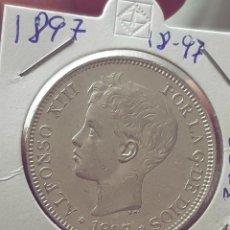 Monedas de España: ALFONSO XIII 5 PESETAS 1897 ESTRELLAS 18-97 SG V REF; 3063. Lote 200763387