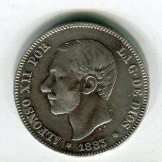 Moedas de Espanha: 2 (DOS) PESETAS ALFONSO XII AÑO 1883 *18 * 83 (EX-1). Lote 200775887