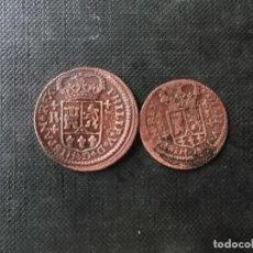 Monedas de España: 2 MONEDAS DE 1 SEGOVIA Y 2 MARAVEDIS BARCELONA FELIPE V 1790S. Lote 200789672