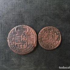 Monedas de España: 2 MONEDAS DE 1 Y 2 BARCELONA MARAVEDIS FELIPE V 1790. Lote 200791021