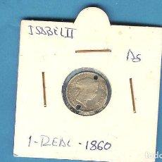 Monedas de España: PLATA-ESPAÑA. 1 REAL 1860. ISABEL II. DOBLE PERFORACIÓN. Lote 201247736