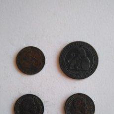 Monedas de España: LOTE 4 MONEDAS GOBIERNO PROVISIONAL ALFONSO XII ESPAÑA 1 Y 2 CÉNTIMOS REPÚBLICA ESPAÑOLA. Lote 201975002