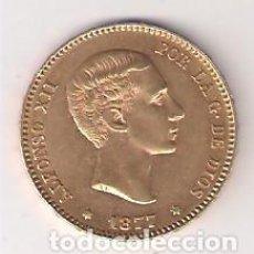 Coins of Spain: MONEDA DE 25 PESETAS DE ALFONSO XII DE 1877 *18-77 ACUÑADA EN MADRID. ORO. MBC+ (052). Lote 202429176