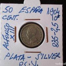 Monete da Spagna: ESPAÑA. 50 CENTIMOS. ALFONSO XIII. 1904 (*1-0) MADRID PC V.- 835 PLATA. 2,50 GRAMOS. Lote 203069152