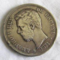 Monete da Spagna: MONEDA DE PLATA AMADEO I, 1871, ESTRELLA 71, 5 PESETAS. Lote 203370073