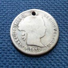 Monedas de España: MUY ESCASOS 2 REALES PLATA 1859 SEVILLA. Lote 203897245