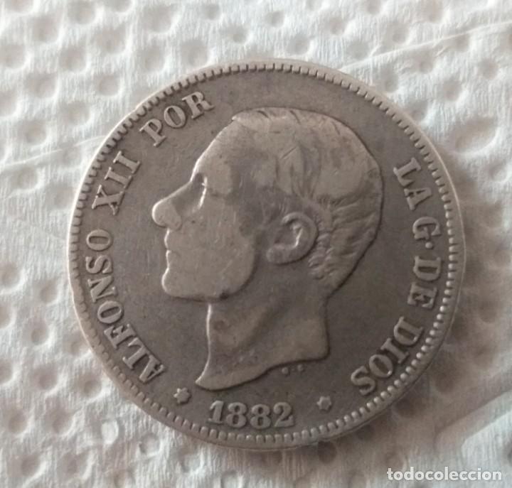 MONARQUÍA ESPAÑOLA MONEDA DE ALFONSO XII AÑO 1882 1 ESTRELLA VISIBLE * 82 * (Numismática - España Modernas y Contemporáneas - De Isabel II (1.834) a Alfonso XIII (1.931))