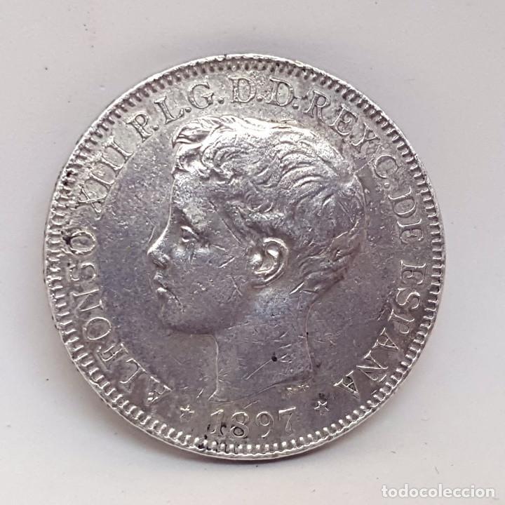 Monedas de España: España 1 peso islas filipinas año 1897 Original - Foto 2 - 204347926