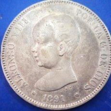 Monedas de España: DURO DE PLATA ALFONSO XIII 1891 MUY BONITO ORIGINAL GARANTIZADO. Lote 204420522
