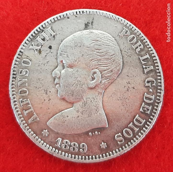 MONEDA PLATA 2 PESETAS 1889 ESTRELLAS VISIBLES 18 89 MBC+ ORIGINAL B34 (Numismática - España Modernas y Contemporáneas - De Isabel II (1.834) a Alfonso XIII (1.931))