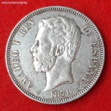 Monedas de España: MONEDA PLATA 5 PESETAS DURO DE PLATA 1871 ESTRELLAS VISIBLES 18 71 MBC++ ORIGINAL D2761A. Lote 204443263