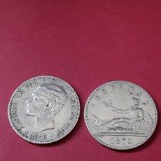 Monedas de España: LOTE 2 DUROS. ALFONSO XII. 1878 (18-78) Y GOBIERNO PROVISIONAL 1870 (18-70). Lote 204542773