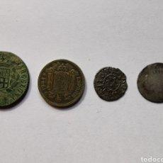 Monedas de España: MONEDA DE PLATA ESPAÑOLA, TRES CUARTOS CATALUÑA 1823, PESETA 1924, DINERO DE CARLOS Y JUANA DE BCN.. Lote 204552380