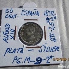 Monete da Spagna: ESPAÑA. 50 CENTIMOS. ALFONSO XIII. 1892 (*9-2) MADRID PG M.- 835 PLATA. 2,50 GRAMOS.. Lote 203066438
