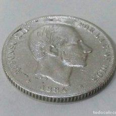 Monete da Spagna: 20 CENTAVOS PLATA ALFONSO XII 1884 RARA Y ESCASA. Lote 204712387
