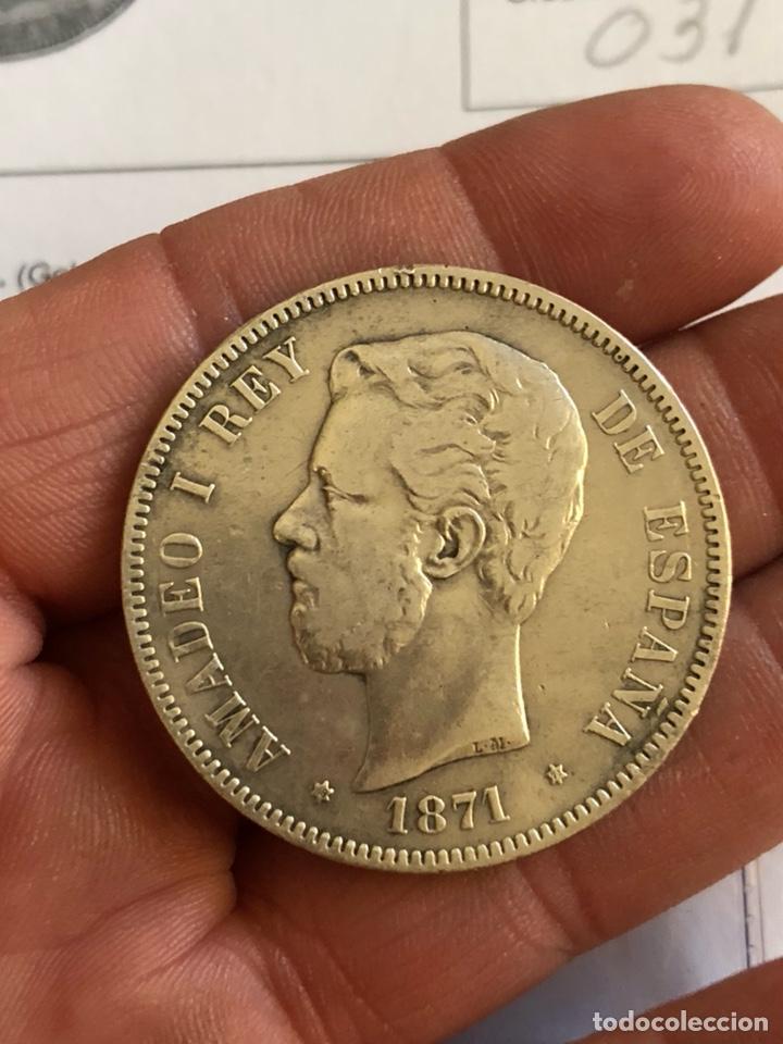 AMADEO I 5 PESETAS 1871 *18 *73, RARA, PROVIENE DE SUBASTA (Numismática - España Modernas y Contemporáneas - De Reyes Católicos (1.474) a Fernando VII (1.833))