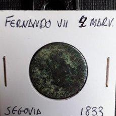 Monedas de España: FERNANDO VII 4 MARAVEDÍS SEGOVIA 1833 BC. Lote 204723532