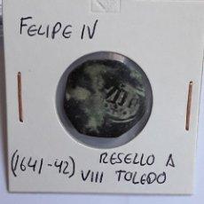 Monedas de España: FELIPE IV RESELLO A VIII MARAVEDÍS TOLEDO (1641-42). Lote 204730746