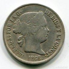 Monedas de España: ISABEL II - 40 CENTIMOS DE ESCUDO DE PLATA - 1866 - MADRID. Lote 205372110