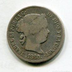Monedas de España: ISABEL II - 2 REALES DE PLATA - 1860 MADRID. Lote 205373901