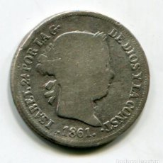 Monedas de España: ISABEL II - 2 REALES DE PLATA - 1861 - BARCELONA. Lote 205374113