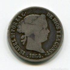 Monedas de España: ISABEL II - 2 REALES DE PLATA - 1864 - SEVILLA. Lote 205374530