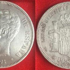 Monedas de España: AMADEO I 1871 *18-71 - S.D.M. - 5 PESETAS - EBC+ - BRILLO ORIGINAL. Lote 205773411