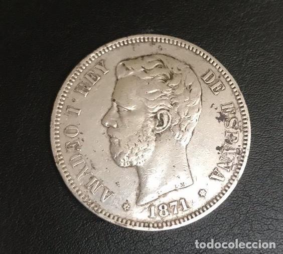 CINCO PESETAS DE AMADEO I DEL AÑO 1871 * 73 (Numismática - España Modernas y Contemporáneas - De Isabel II (1.834) a Alfonso XIII (1.931))