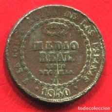 Monedas de España: ISABEL II - MEDIO (1/2) REAL - CINCO DECIMAS DE REAL - 1850 JUBIA - GOLPECITOS - RARA. Lote 205824111