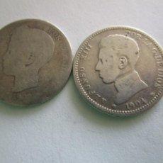 Monedas de España: LOTE DE 2 MONEDAS DE UNA PESETA .PLATA. Lote 206318976