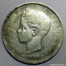 Monedas de España: ALFONSO XIII, 5 PESETAS DE PLATA 1898 * 18 - 98. CECA DE MADRID-S.G.V . DURO DE PLATA. LOTE 2935. Lote 206375833