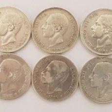 Monedas de España: 6 MONEDAS DE PLATA- 2 PESETAS ALFONSO XII- AÑOS 1879 (2),1881,1883,1884 (2). Lote 206444302