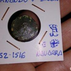 Monedas de España: FERNANDO V DINERO 1452-1516 NAVARRA G + MUY ESCASA. Lote 207218862