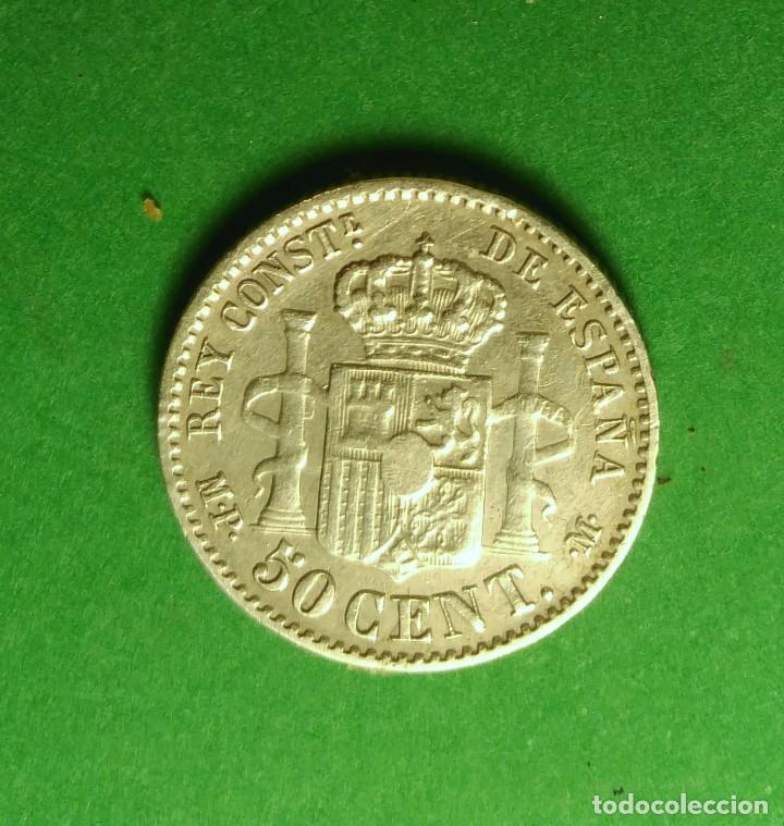 Monedas de España: España 50 CENTIMOS 1889 ESTRELLAS *8*9 ver fotos, PLATA. ¡¡¡¡LIQUIDACION COLECCION!!!!! - Foto 3 - 207280600