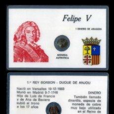 Monedas de España: CARNET CON MONEDA AUTENTICA DE 1 DINERO DE ARAGON FELIPE V 1683 -1746 - 1º REY BORBON-DUQUE DE ANJOU. Lote 208967222