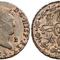 Monedas de España: 1829. FERNANDO VII. SEGOVIA. 2 MARAVEDÍS. 2,31 G. SC-. SIN CIRCULAR. Lote 210026812