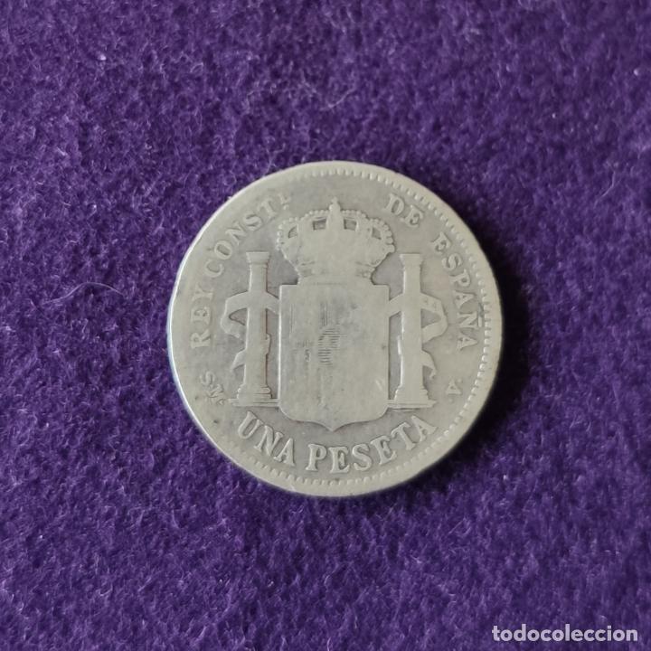 Monedas de España: MONEDA DE 1 PESETA DE PLATA DE 1905. ALFONSO XIII. CADETE - ESPAÑA. ESTRELLAS FLOJAS. ORIGINAL. - Foto 2 - 210216663