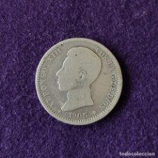 Monedas de España: MONEDA DE 1 PESETA DE PLATA DE 1905. ALFONSO XIII. CADETE - ESPAÑA. ESTRELLAS FLOJAS. ORIGINAL.. Lote 210216663