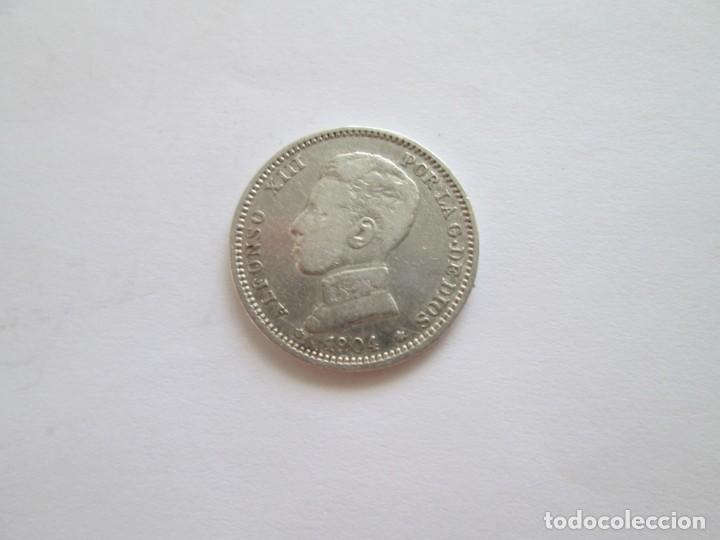 ALFONSO XIII * 1 PESETA 1904 SM V * ESTRELLAS VISIBLES * PLATA (Numismática - España Modernas y Contemporáneas - De Isabel II (1.834) a Alfonso XIII (1.931))