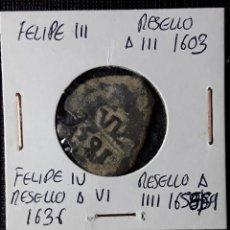 Monedas de España: FELIPE III RESELLO A IIII 1603, FELIPE IV RESELLO A VI 1636 Y A IIII 1654-55. Lote 210348373