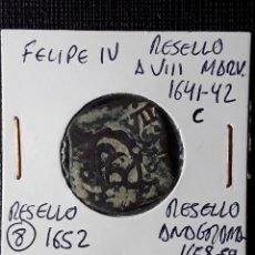 Monedas de España: FELIPE IV RESELLO A VIII MARAVEDÍS 1641 CUENCA- RESELLO A 8 1652 Y ANAGRAMA 1658-59. Lote 210349951