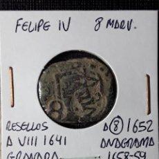 Monedas de España: FELIPE IV 8 MARAVEDÍS RESELLO A VIII GRANADA 1641- A 8 1652- ANAGRAMA 1658-59. Lote 210350905