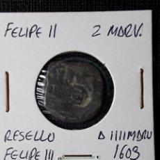 Monedas de España: FELIPE II 2 MARAVEDÍS- FELIPE III RESELLO A IIII 1603. Lote 210350995