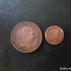 Monedas de España: 2 MONEDAS DE 2 1/2 CENTIMOS Y MEDIO CENTIMO 1868 ISABEL II. Lote 210472701