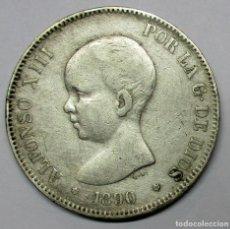 Moedas de Espanha: ALFONSO XIII, 5 PESETAS DE PLATA 1890 * 18 - 90.CECA DE MADRID- M.P.M.. DURO DE PLATA. LOTE 2857. Lote 210557150