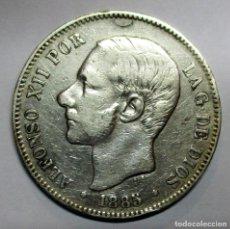 Moedas de Espanha: ALFONSO XII, 5 PESETAS DE PLATA 1885 * 18 - 87 CECA DE MADRID-M.P.M. DURO DE PLATA. RARA LOTE 2978. Lote 210557160