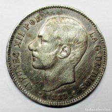 Moedas de Espanha: ALFONSO XII, 5 PESETAS DE PLATA 1885 * 18 - 87 CEC A DE MADRID- M.S.M. DURO DE PLATA. LOTE 2988. Lote 210557168