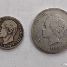 Moedas de Espanha: MONEDAS ANTIGUAS ESPAÑA 2 PTS 1882 Y 5 PTS 1894 PLATA. Lote 210576951